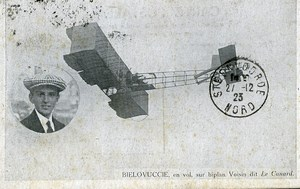 France Bielovucic on Biplane Voisin Aviation Ace Pilot Old PC Postcard 1923