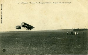 France Camp de Chalons Farman Airplane Pioneer Ace Pilot Old PC Postcard 1908