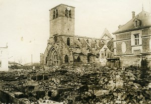 France WWI War Front Marne Revigny Church Ruins Old Photo Meurisse 1915