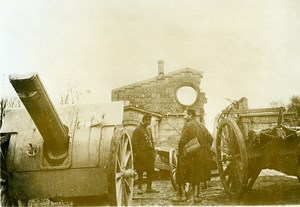 France WWI War Front Marne Soissons Artillery Guns Old Photo Meurisse 1918