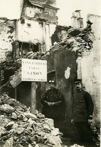 France WWI War Front Nord Alcohol Tobacconist Shop Ruins Old Photo Meurisse 1915