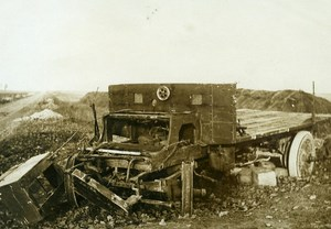France WWI War Front Supply Truck destroyed Old Photo Meurisse 1918