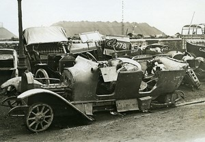 France WWI War Front Captured German Car Trucks Wrecks Old Photo Meurisse 1915