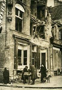 Belgium WWI Ieper Boy Street Retailer Hosiery Shop Ruins Photo Meurisse 1915