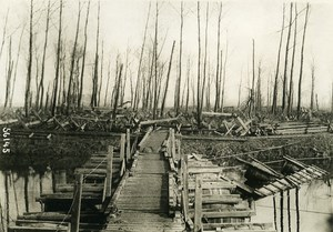 Belgium WWI Yser Front Canal Wooden Barrel Bridge Old Photo Meurisse 1915