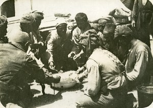 Greece WWI Orient War Salonique Troops ? Meal Time Old Photo 1918