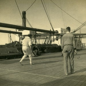 Canadian Pacific Steamship Co Cruise Empress of Britain Deck Game Old Photo 1936