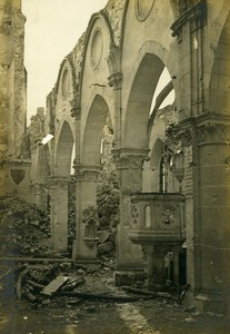 France Berry au Bac Church Ruins WWI First World War Army Old Photo SPA 1918
