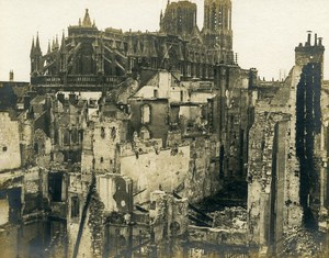 France Reims Cathedral Ruins WWI First World War Army Old Photo SPA 1918
