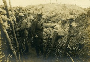 France General Visiting Trench WWI First World War Army Old Photo SPA 1918