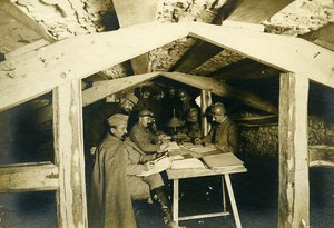 France Trench Officer Underground Office WWI First World War Army Photo SPA 1918