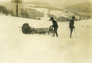 France Sleigh for Wounded Soldier WWI First World War Army Old Photo SPA 1918