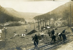 France Men Repairing Railroad WWI First World War Army Old Photo SPA 1918