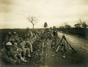 France Infantry Rest WWI First World War Army Old Photo SPA 1918