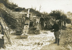 France Trench 120 Gun Canon WWI First World War Army Old Photo SPA 1918