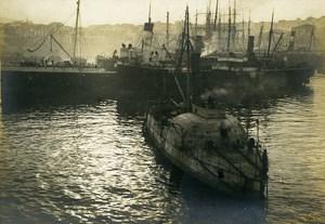 Grece Salonika Harbor Submarine WWI First World War Army Old Photo SPA 1918
