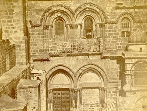 Middle East Israel Holy Sepulchre Door Old Anonymous Albumen Photo 1880