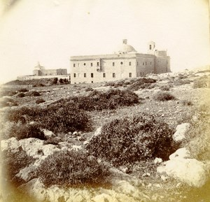 Middle East Mount Carmel Convent Old Anonymous Albumen Photo 1880