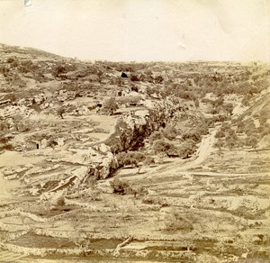 Middle East Israel Jerusalem Tyropoeon Valley Old Anonymous Albumen Photo 1880