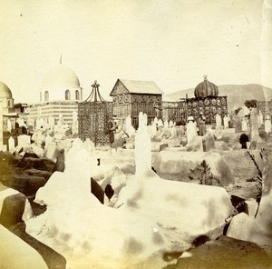 Middle East Syria Damascus Cemetery Old Anonymous Albumen Photo 1880