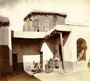 Middle East Syria Damascus House courtyard Old Anonymous Albumen Photo 1880