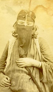 Middle East Woman Traditional Fashion Portrait Old Anonymous Albumen Photo 1880