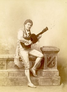 France Paris Portrait Felicia Mallet Pantomime Old Cabinet Photo Chalot 1890