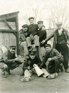 France Working Class Men Group Posing Fun Times Old Photo 1930's