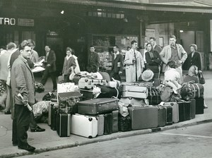 France Paris Austerlitz Railway Train Station Lots of Luggage Old Photo 1951