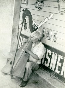 Street Musician Harpist Harp South America ? Old Photo 1940's
