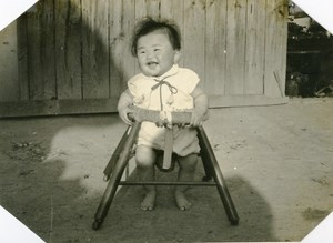 USA Hawaii Honolulu Japanese Baby Traditional Fashion Chair Old Photo 1948