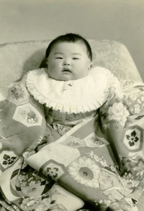USA Hawaii Honolulu Japanese Baby Traditional Fashion Old Photo 1948