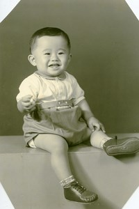 USA Hawaii Honolulu Japanese Toddler Boy Traditional Fashion Old Photo 1948