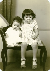 USA Hawaii Honolulu Japanese Children Baby Traditional Fashion Old Photo 1948