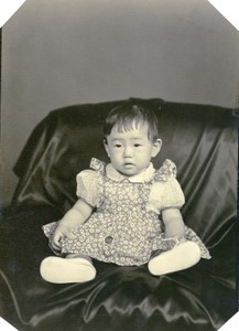 USA Hawaii Honolulu Japanese Toddler Girl Traditional Fashion Old Photo 1948