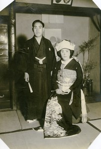 USA Hawaii Honolulu Japanese Couple Traditional Fashion Old Photo 1948