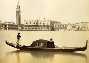 Italy Venice Gondola Canal Doges Palace Campanile Old Photo 1875