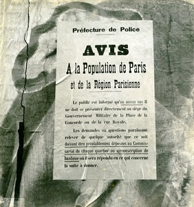 France Paris WWII Guerre Occupation Allemande Affiche Avis Ancienne Photo 1940