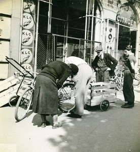 France Paris WWII War German Occupation Bicycle Citroen Old Photo Nicolini 1942