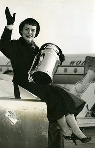 Eleanor Maley Miss Milk arrives at Orly Airport Old Press Photo 1954