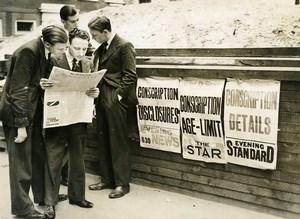 United Kingdom London Mandatory Conscription Old Press Photo 1939