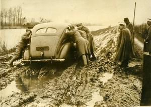 Netherlands WWII Military Maneuvers Automobile Muddy Road Old Press Photo 1940