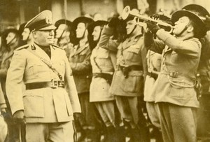 Italy Roma WWII Duce Mussolini Bersaglieri Troops Review Old Press Photo 1940