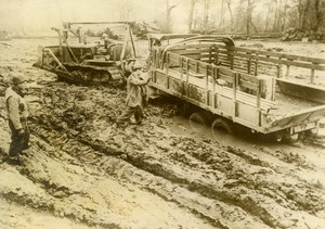 Germany WWII American Military Operation Truck in Mud Old Press Photo 1944