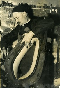 France Montrieux WWII Camille Theisen Saddler at Work Old Press Photo 1942