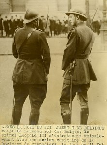 King Leopold of Belgium Captain of First Regiment of Grenadiers Old Photo 1934