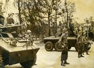 Germany Berlin Post War Anti Fascim Demonstration US Armored car Photo 1948