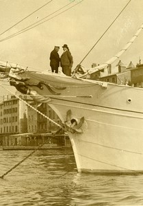 France Toulon Daladier on holiday on the Yacht Vellela II Old Photo 1933
