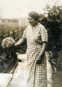 France Portrait Of Mme Couturier in her Garden Old Photo 1930