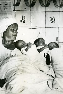 Spain Madrid Triplet Babies Birth Mother Hospital Old Photo 1936